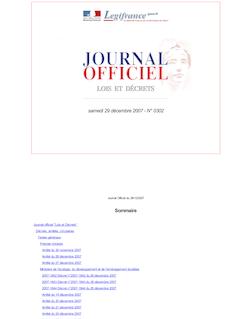 Journal officiel n°0302 du 29 décembre 2007