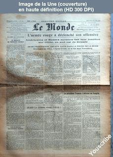 LE MONDE  numéro 104 du 18 avril 1945