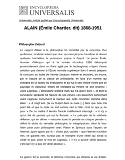 ALAIN (Émile Chartier, dit) 1868-1951