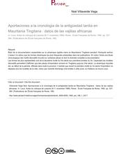Aportaciones a la cronologia de la antigüedad tardia en Mauritania Tingitana : datos de las vajilias africanas - article ; n°1 ; vol.166, pg 337-364
