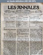LES ANNALES POLITIQUES ET LITTERAIRES  numéro 1567 du 06 juillet 1913