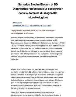 Sartorius Stedim Biotech et BD Diagnostics renforcent leur coopération dans le domaine du diagnostic microbiologique