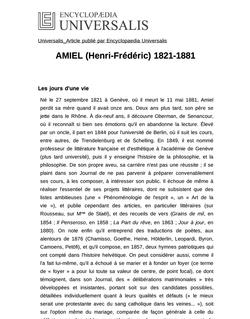 AMIEL (Henri-Frédéric) 1821-1881