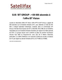 article du 06 février 2012 - G-B / BT GROUP : +39 000 abonnés à l'offre BT Vision