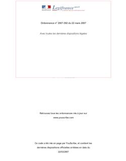 Ordonnance n° 2007-392 du 22 mars 2007