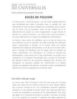 Définition de : EXCÈS DE POUVOIR