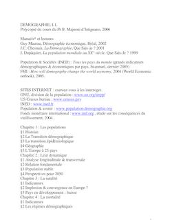 DEMOGRAPHIE, L1, Polycopié du cours du Pr B. Majnoni d'Intignano ...