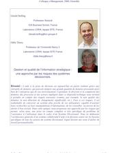 Gestion et qualité de l'information stratégique : une approche par les risques des systèmes décisionnels.