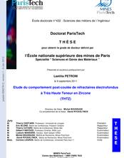 Étude du comportement post-coulée de réfractaires électrofondus à Très Haute Teneure en Zircone (THTZ)