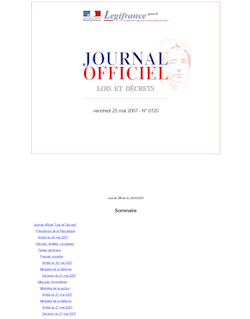 Journal officiel n°120 du 25 mai 2007