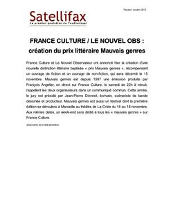 article du 26 octobre 2012 - FRANCE CULTURE / LE NOUVEL OBS : création du prix littéraire Mauvais genres