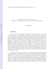 Religion in post-communist Albania: Muslims, Christians and the concept of 'culture' (Devoll, South Albania)
