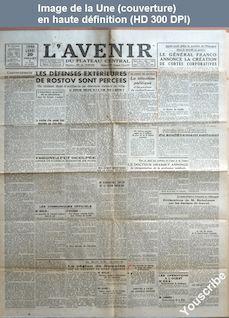 L' AVENIR DU PLATEAU CENTRAL  numéro 18052 du 20 juillet 1942