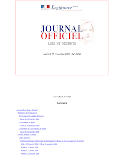 Journal officiel n°0266 du 15 novembre 2008