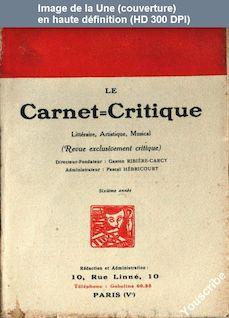 LE CARNET CRITIQUE  numéro 23 du 01 juin 1922