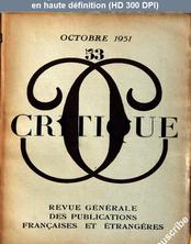 CRITIQUE numéro 53 du 01 octobre 1951
