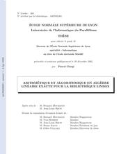 Arithmétique et algorithmique en algèbre linéaire exacte pour la bibliothèque LinBox