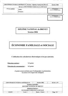 Brevet economie familiale et sociale 2004