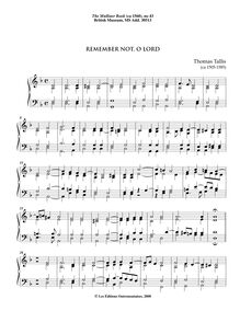 Partition 4, Remember not, O Lord, pour Mulliner Book, Keyboard: organ or harpsichord