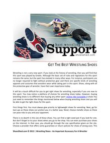 Get The Best Wrestling Shoes