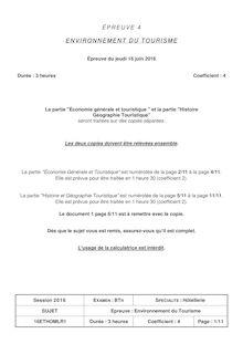Baccalauréat Environnement du tourisme 2016 - Série BTN Hôtellerie