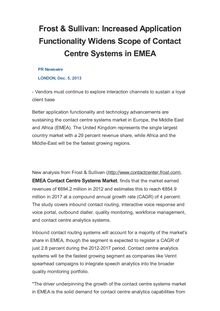 Frost & Sullivan: Increased Application Functionality Widens Scope of Contact Centre Systems in EMEA
