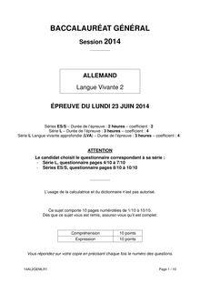 Sujet bac 2014 - Séries L, ES et S - LV2 allemand