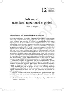 Folk music: from local to national to global
