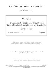 Brevet 2019 : sujet de français, grammaire
