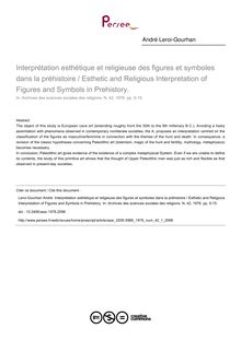Interprétation esthétique et religieuse des figures et symboles dans la préhistoire / Esthetic and Religious Interpretation of Figures and Symbols in Prehistory. - article ; n°1 ; vol.42, pg 5-15