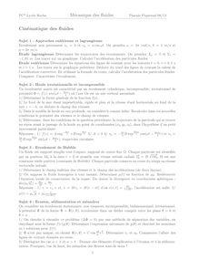 Exercices de mécanique des fluides - 2ème année de CPGE scientifique, voie PC*, Cinématique des ...
