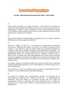 Baccalauréat Économie-Droit 2016 - Série STMG - Corrigé