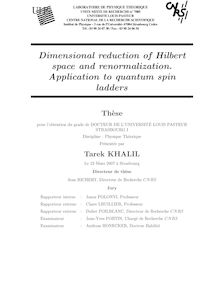Dimensional reduction of Hilbert space and renormalization Application to quantum spin