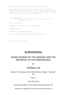 Euphorion - Being Studies of the Antique and the Mediaeval in the - Renaissance - Vol. I