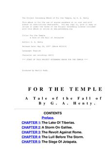 For the Temple - A Tale of the Fall of Jerusalem