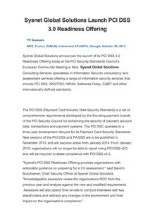 Sysnet Global Solutions Launch PCI DSS 3.0 Readiness Offering