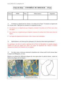 Contrôle corrigé sur la tectonique des plaques