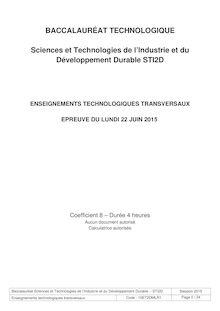 Bac 2015 - Enseignements technologiques transversaux - STI2D