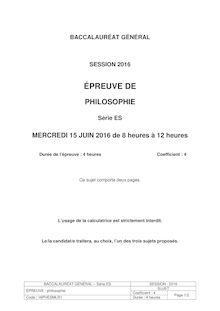 Baccalauréat Philosophie 2016 série ES