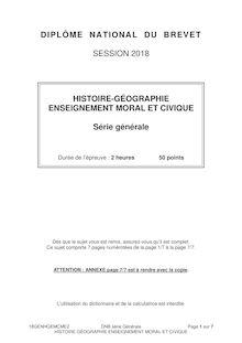 Sujet du Brevet - Histoire Géo - Série générale 2018