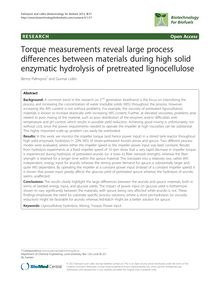 Torque measurements reveal large process differences between materials during high solid enzymatic hydrolysis of pretreated lignocellulose