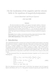 fields in the equations of magnetohydrodynamics