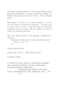 The Ancient History of the Egyptians, Carthaginians, Assyrians, - Babylonians, Medes and Persians, Macedonians and Grecians - (Vol. 1 of 6)