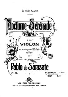 Partition violon et partition de piano, Nocturne-Serenade, Op.45