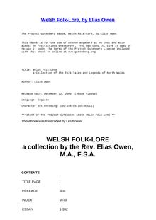 Welsh Folk-Lore - a Collection of the Folk-Tales and Legends of North Wales