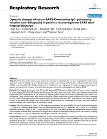 Dynamic changes of serum SARS-Coronavirus IgG, pulmonary function and radiography in patients recovering from SARS after hospital discharge