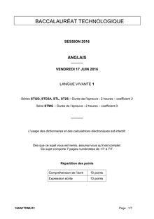 Baccalauréat LV1 Anglais - Séries technologiques