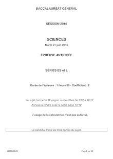 Baccalauréat Sciences 2016 - Séries L et ES