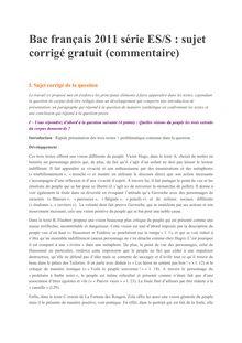 Bac Premiere 2011 S ES Francais Corrige commentaire