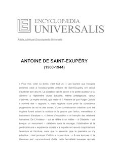 Biographie d'Antoine de Saint-Exupéry - Hubert HARDT, Encyclopaedia Universalis